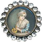 Brooch--19th C. Painted Portrait Under Glass in Silver Vermeil