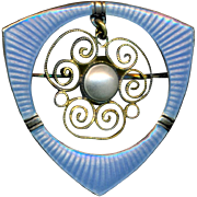 Brooch--Small Late 19th C. Secessionist Gilt Open Filigree with Opalescent Blue Enamel