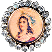 Button--Late 19th C. Lithograph Lady in Mob Cap with Rhinestone Border