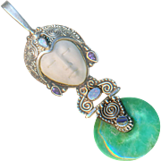 Pendant--Modern Sterling Silver Goddess in Opals, Amethysts, Jade, and Paua Shell with Carved Bone Face