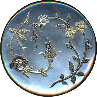 Button--Large 19th C. Engraved, Painted & Foil Inlaid Floral Pearl