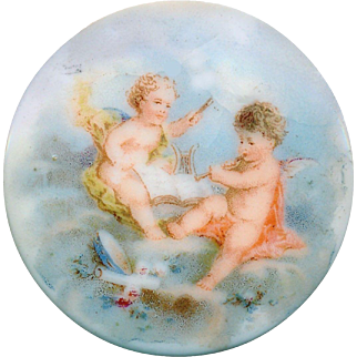 Button--Late 19th C. Large Transfer Porcelain Putti in Clouds Depose