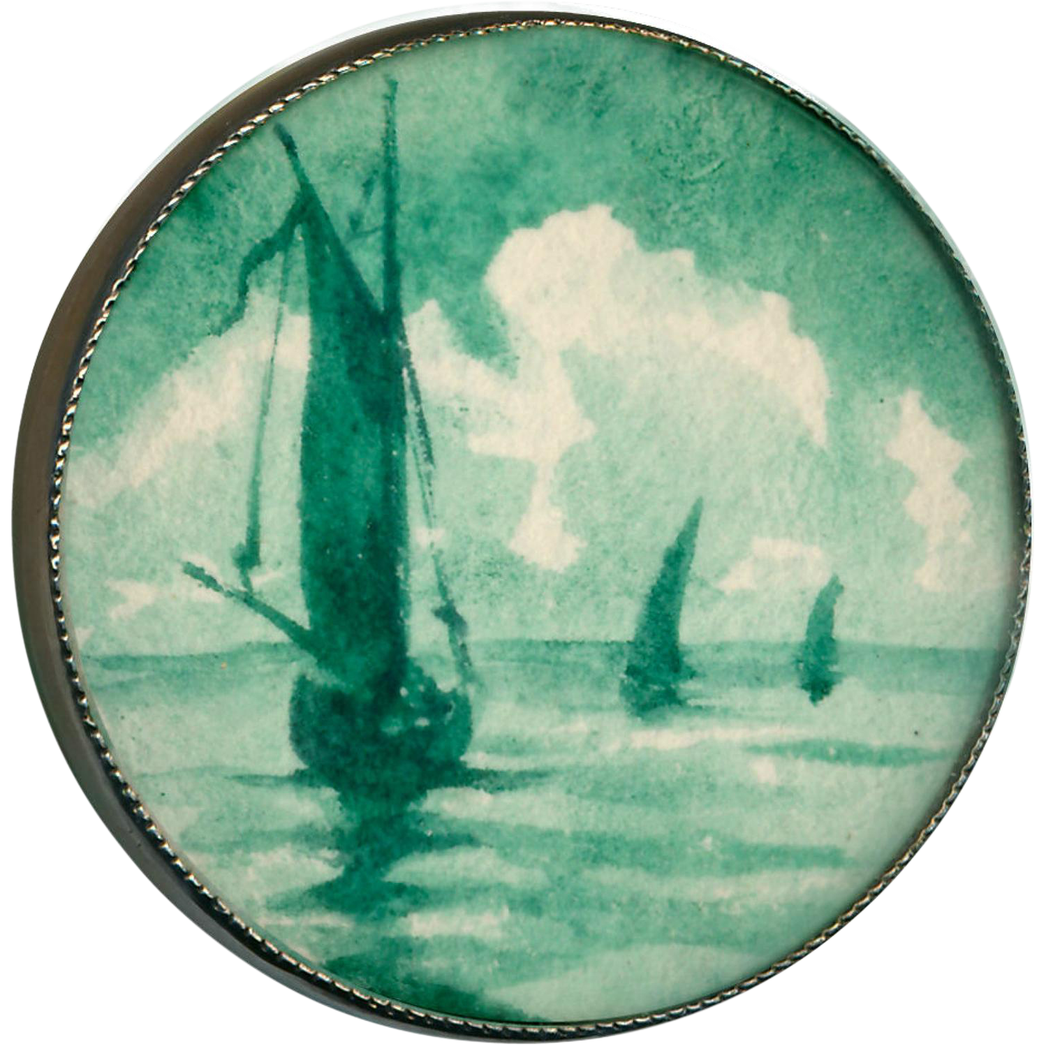Button--Large Early 20th C. Monochrome Watercolor of Sailboats Under Glass in Silver