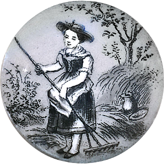 Button--19th C. Monochrome Transfer on Porcelain Girl with Wooden Rake