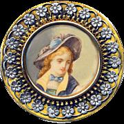 Button ~ Very Fine 19th C. Portrait Under Glass in Silver Overlay Brass Floral Border
