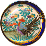 Button--Very Large Late 19th C. Japanese Satsuma Pottery Rooster in Garden with Cobalt Rim