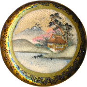 Button--Very Fine Quality 19th C. Japanese Satsuma Landscape with Puzzle Border