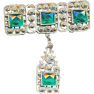 Brooch--Large White Metal Filigree with Green Glass Jewels