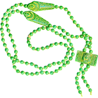 Necklace--Vintage Pea Green Neo-Egyptian Circa 1930 Glass Beads