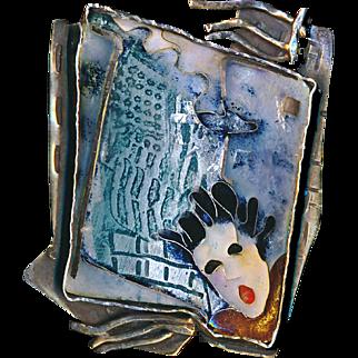 Brooch--Unique Susan Gifford Knopp Cloisonne Enamel 9/11 Memorial on Sterling Silver