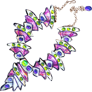 Necklace--Vintage French Limoges Enamel Links by Andree Bazot