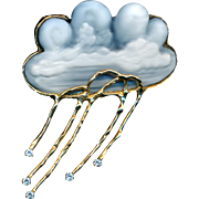 Brooch or Pendant--Chalcedony Cameo Carved Rain Cloud by Karen Brown--14 Karat Gold & Diamonds