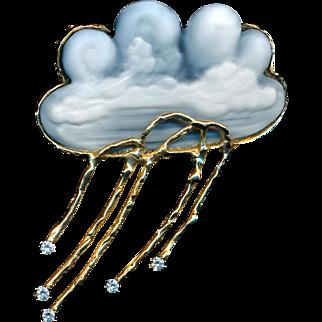 Brooch or Pendant--Chalcedony Cameo Carved Rain Cloud by Karen Brown--14 Karat Gold & Diamonds