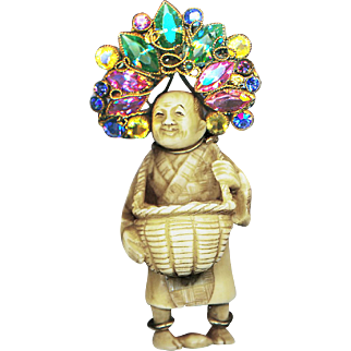 Brooch--Unsigned 1940s Hobe Netsuke Figure in Gilded Silver and Glass Jewels