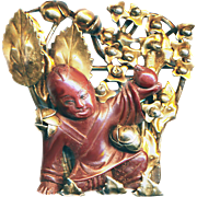 Brooch--Vintage 1940s Sylvia Hobe Red Bandora Boy with Peach in Gilded Sterling Silver