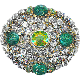 Brooch--Very Fine Heavy Sterling Silver & Unfoiled Stones From France