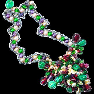 Necklace--Vintage 1950s Rousselet Glass Pearls & Pate de Verre Beads