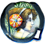 Brooch--Fine Matte Emaux Peints Enamel on 0.800 Silver Jugendstil or Secessionist Lady Portrait