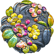 Button--Extra Large 19th C. Japanese Silver Enamel Flowers on Age-Patinated Black Ground