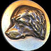 Button--Large Vintage Heavy Cast Brass Newfoundland Dog--Newfie