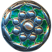 Button--Large British Arts & Crafts Blue-green Enamel & Pearl By William Haseler