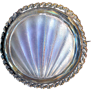 Brooch--Early 20th C. Reverse Lavender-silver Painted Glass Scallop Shell in Brass