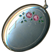 Pendant--Bloomed Silver Powder Case with en Plein Enamel Roses & Foliage