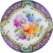 Button--19th C. Hand Painted Porcelain Dresden Style 4-way Shank Purple Border