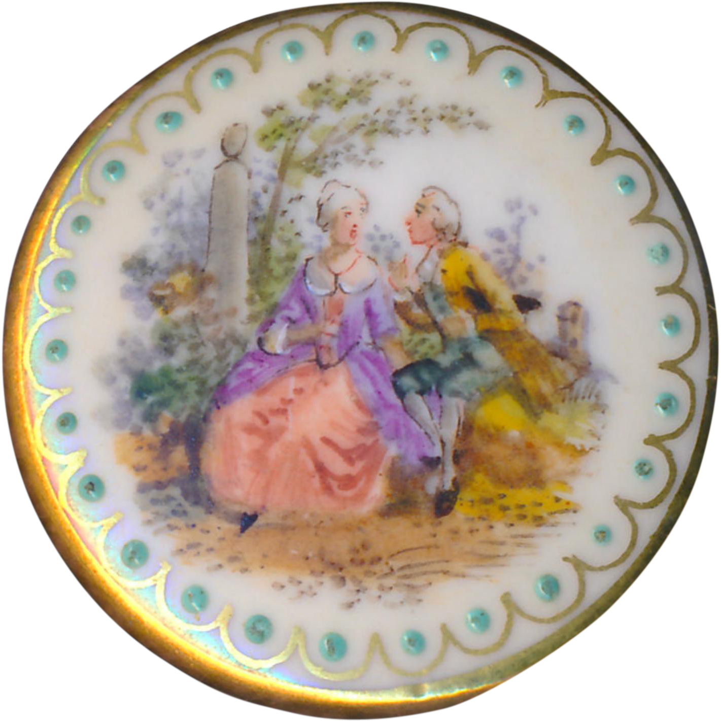 Button--Large Early 20th C. Dresden-type Hand Painted Porcelain Pastoral Figures