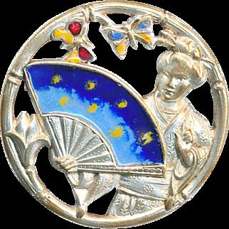 Button--Unusual Late 19th C. Silvered Brass Open Work Enamel Geisha