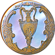 Button--19th C. Paris Back Engraved Gold-plated Brass Handled Urn Over Pearl