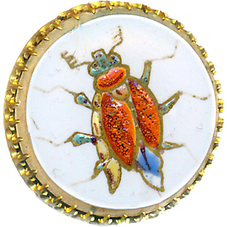 Button--Enameled Beetle 19th C. White Sheet Overlay Clear Glass in Brass