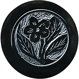 Button--Hard-to-find Whitby Jet Button--Mid-19th C. Floral