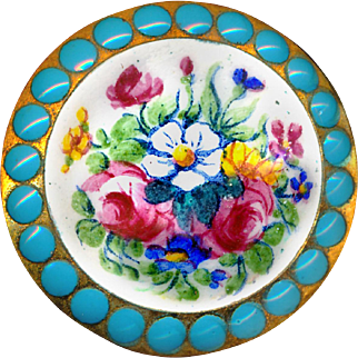 Button--Large Multicolored Enamel Floral Bouquet with Turquoise Pierreries