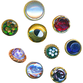 Buttons--Nine Very Nice Mid-19th C.Waistcoat  Glass Jewels