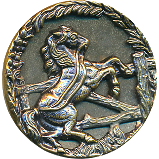 Button--Large Late 19th C. Brass Runaway Horse with Interrupted Wheat Border