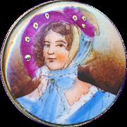 Button--Late 19th C. Porcelain Lady in Plum Colored Bonnet