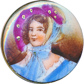 Button--Late 19th C. Porcelain Lady in Plum Colored Bonnet