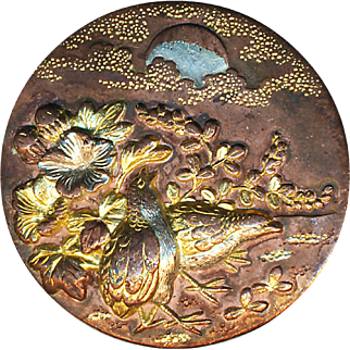 Button--Very Fine Late 19th C. Japanese Mixed Metal Quail Singing to Moon in Clouds