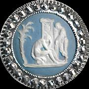 Button--18th C. Jasper Ware Classical Scene in Mirror Bright Steel
