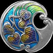 Button--Artisan Art Nouveau Sterling Silver Enamel Leaves