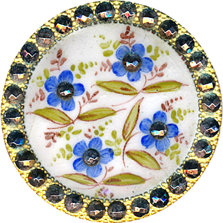 Button--Large 19th C. Enamel Bluets Flowers in Patinated Cut Steels