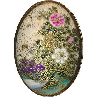 Button--Large 19th C. Oval Satsuma Pottery Floral Trees & Mt. Fujiyama