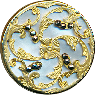 Button--Large 19th C. Engraved Rococo Gilded Brass Over Luminescent Pearl