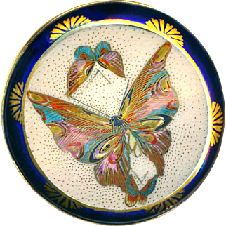 Button--Very Large Late 19th C. Japanese Satsuma Butterflies in Blue Border
