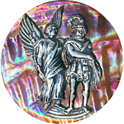 Button--Huge 19th C. Red Abalone Pearl with Pewter Charlemagne and Angel Escutcheon
