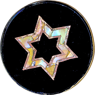 Button--Very Fine Mid-19th C. Reverse Painted Pearl Glass Wafer Star of David