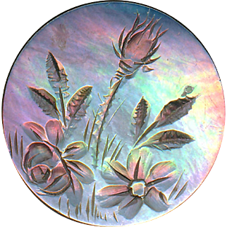 Button--Medium 19th C. Engraved Iridescent Brown Pearl Wild Flowers