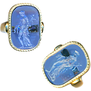 Ring--Vintage Blue Glass Intaglio Classical Figure in 14 Kt. Gold