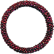 Bracelet--Vintage Flexible Bangle of Tiny Rhodolite Garnet Beads